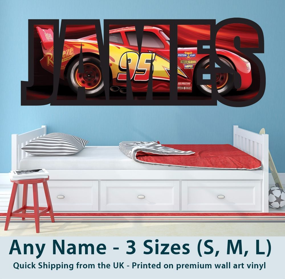 Childrens Wall Sticker Cars Sizes Are Approx As Follows The Length Longest Number Of The Print Is A Cars Room Disney Car Toddler Room Disney Cars Bedroom [ 981 x 1000 Pixel ]