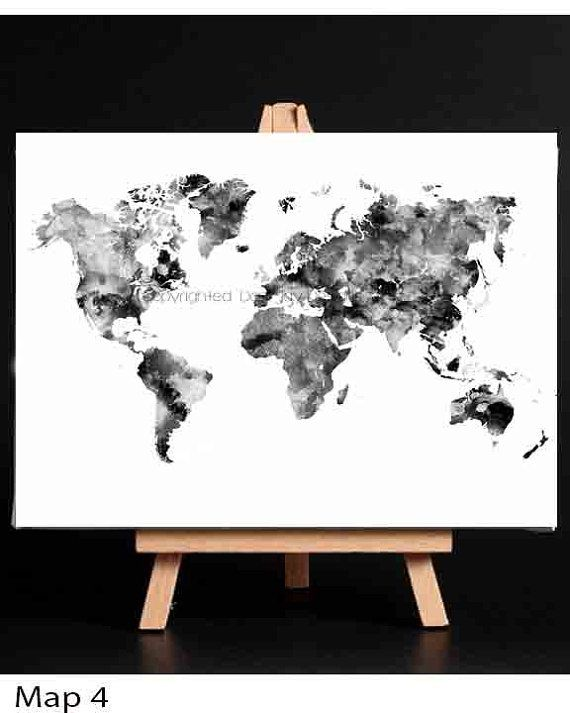 Black and white world map monochrome art world map art world map world map print black gray and white map blue world by danijarts gumiabroncs Choice Image