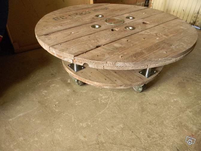 Table basse touret bois 80 et 60 de diametre d coration nord make it industrial - Touret de cable ...