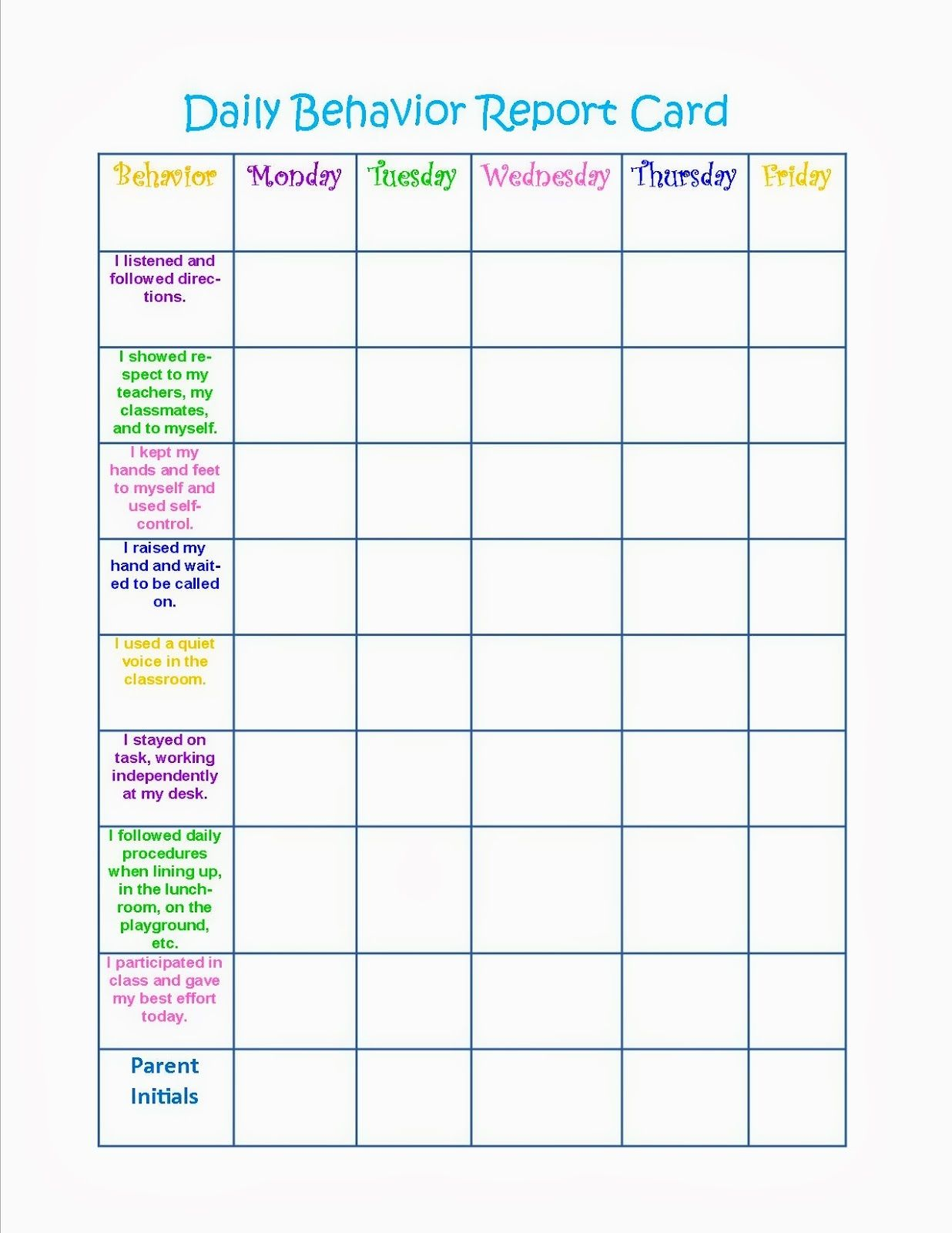 Behavior Charts Printable for Kids Activity Shelter – Kids Behavior Chart Template