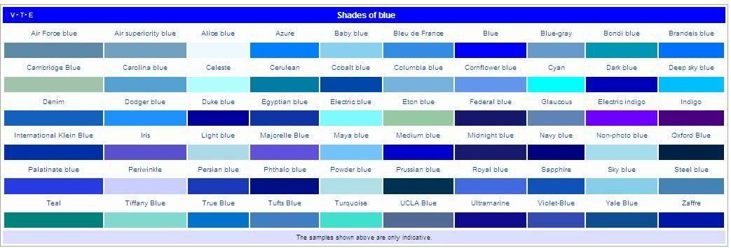 Blue List Of Colors And Name Their Shades
