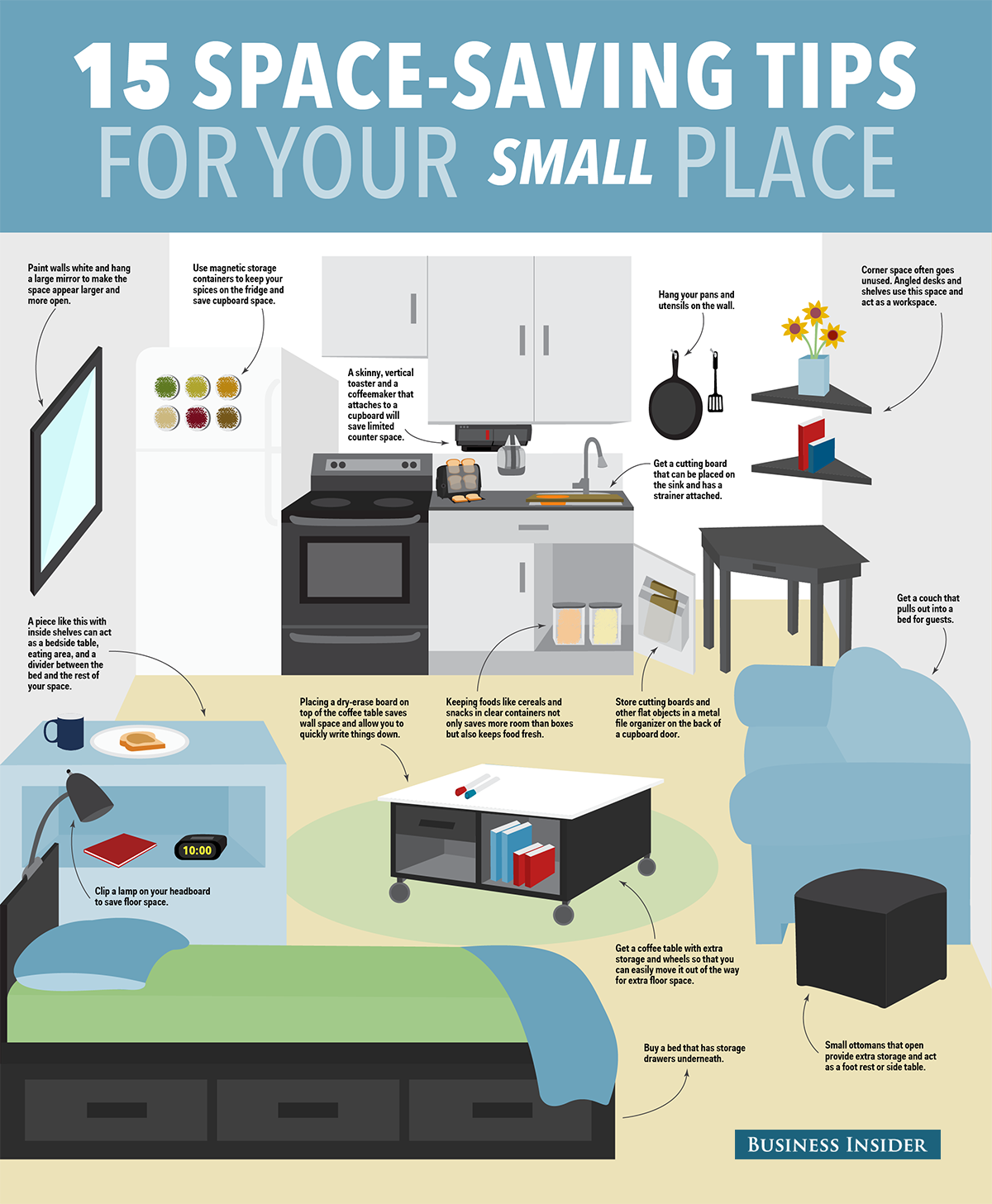 15 Ways To Save Space In Your Small Apartment Space Saving Apartment Small Apartment Organization Tiny Apartments