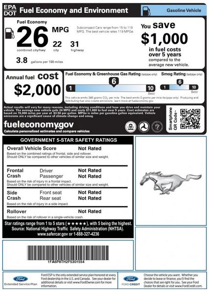 Window Stickers Reveal Fuel Economy Ratings Of Upcoming Mustang