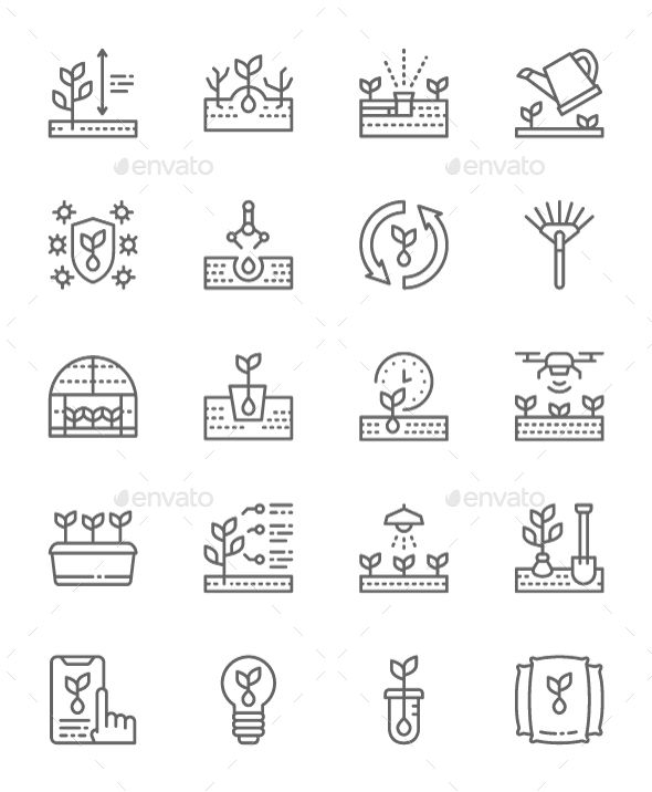Set Of Planting Line Icons Pack Of 64x64 Pixel Icons Fully customisable set of icons