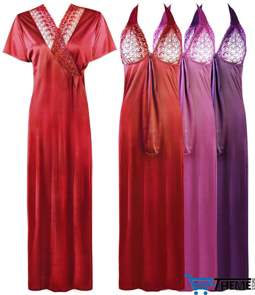 fb7b6f00d0 LADIES SATIN NIGHTDRESS WOMENS NIGHTIE LACE LONG CHEMISE GOWN 2PC SET 8-16