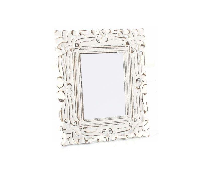 Marco de fotos de madera tallado blanco envejecido | Artículo ...