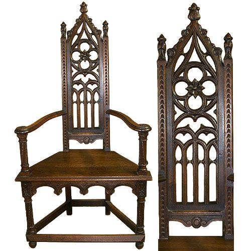 x[SOLD] Gothic revival antique foyer chairs (pair). - Gothic Revival Antique Foyer Chair 1860 Antiques Pinterest