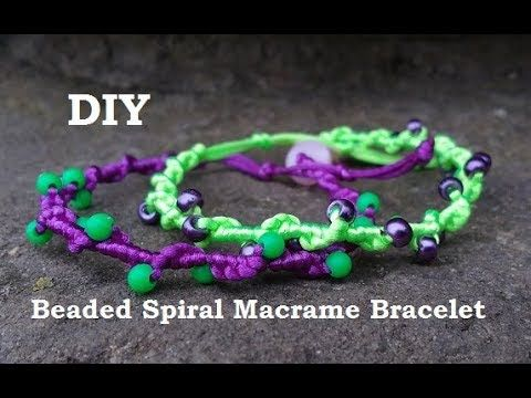 Simple DIY Beaded Spiral Macrame Bracelet Tutorial - YouTube ... 5425b8f083d