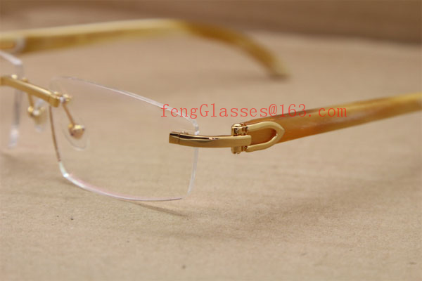 8e6f26e2fc cheap cartier eyeglasses frames Rimless T8100905 Original White Genuine  horn Eyeglasses in Gold