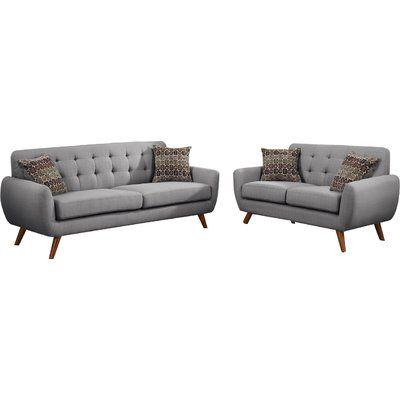 Mercury Row Bice Modern Retro Sofa and Loveseat Set Upholstery: