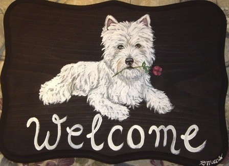 Westie West Highland terrier dog house and home plaque other breeds available