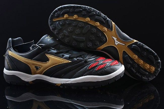 premium selection 60155 b1767 Mizuno Wave Ignitus K-Leather TF Soccer Cleats-Black Red Golden