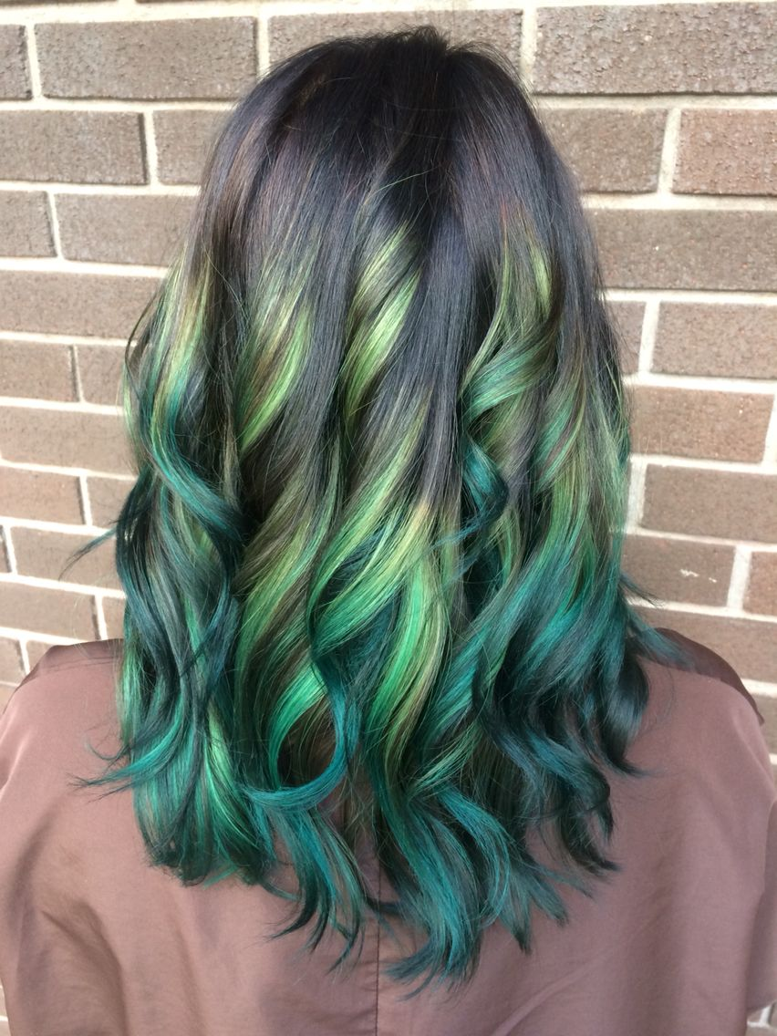 Ombre Green Hair Frisr Pinterest Green Hair Ombre And Hair