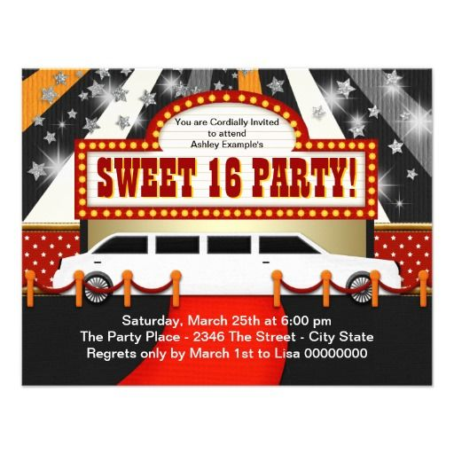 White Limo Movie Star Sweet 16 Party Invitation