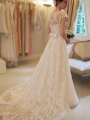 elegantes brautkleid spitze lang  schlichte hochzeitskleider juwel  spitzen hochzeiten