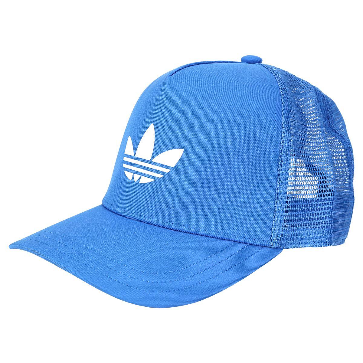 Boné Adidas Trefoil Trucker Azul claro e Branco  0973cf833d7