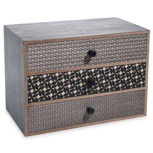 Boîte 3 tiroirs en bois noir H 17 cm ALYA diy Pinterest