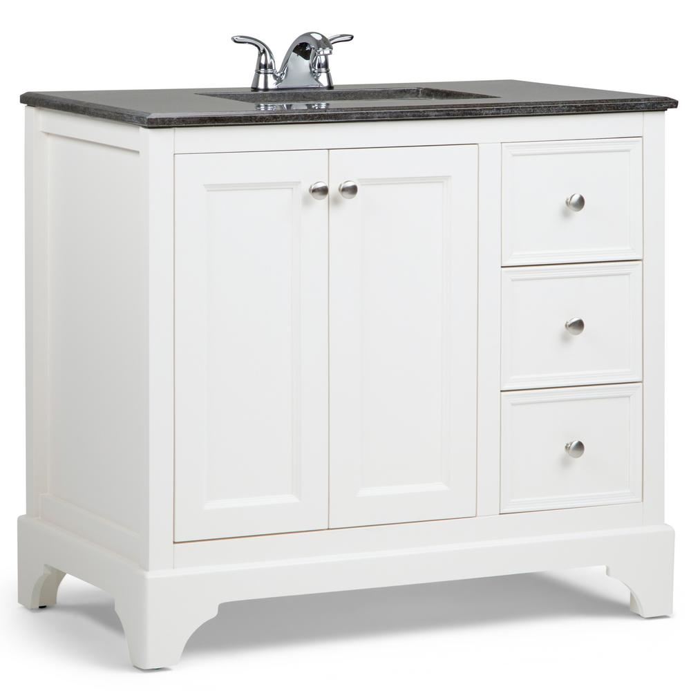 Simpli Home Cambridge 36 In Bath Vanity In Soft White With