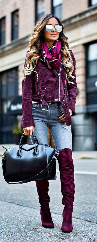 Burgundy suede jacket and oak boots Bota Over fd81ef38b37