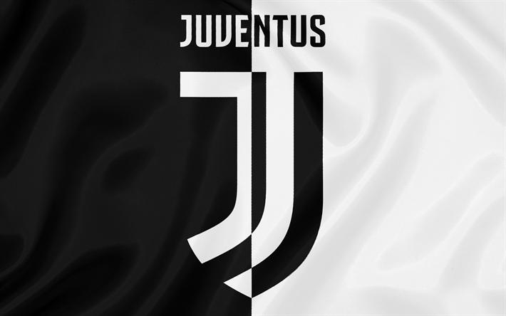 Lataa kuva Juventus, 4k, Torino, Italia, Serie, Italian football club, silkki lippu, uusi Juventus tunnus