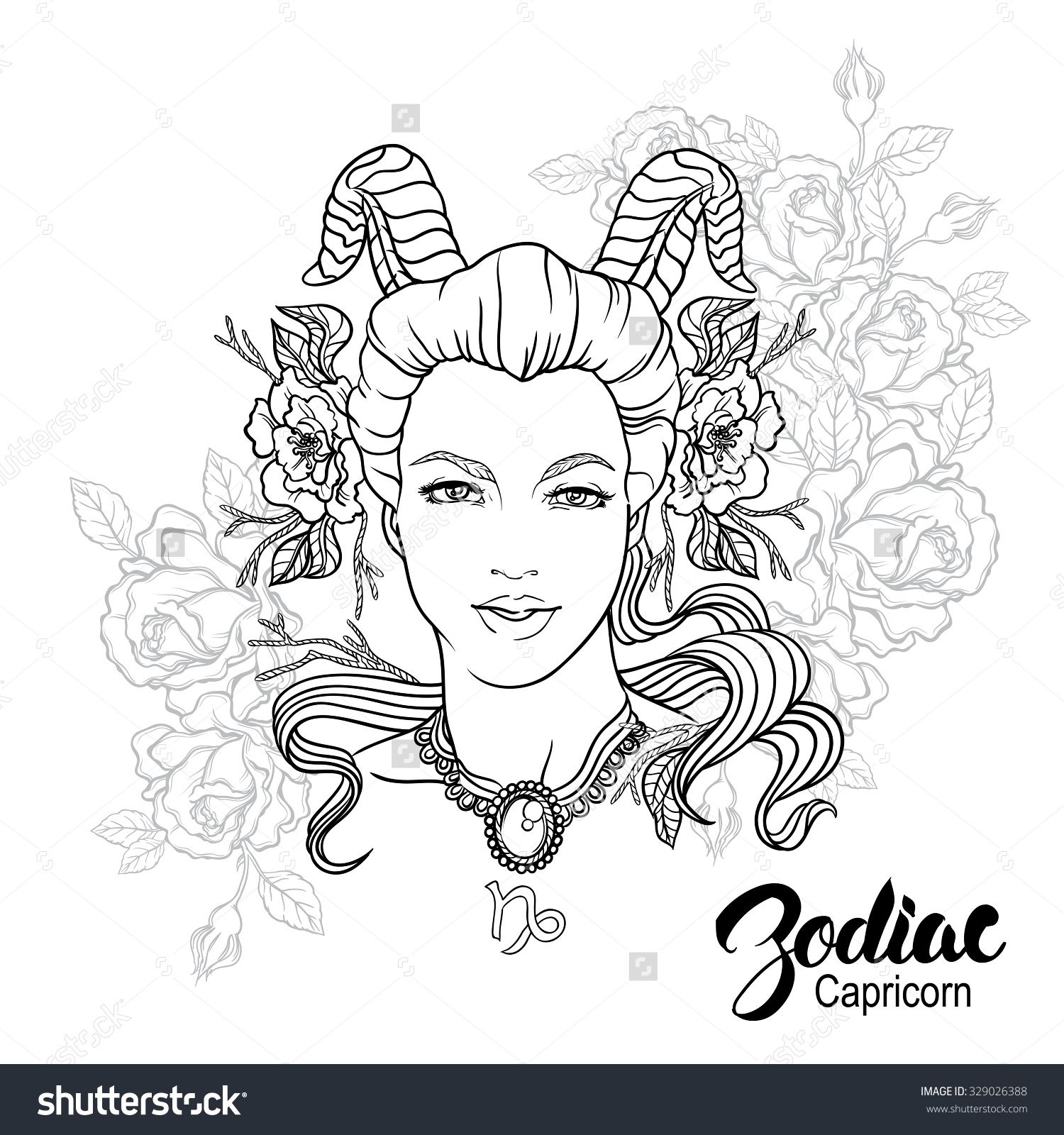 Zodiac Capricorn Girl Coloring Page Shutterstock 329026388