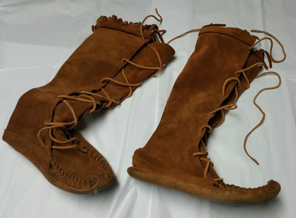 8e6ad805d819 Minnetonka Moccasins Men s 9 Knee High Brown Suede Leather Lace-up Boots  camping  Minnetonka  Moccasins