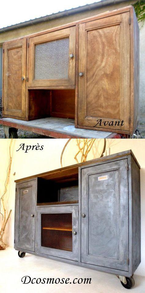 Haut de buffet de campagne en bois relooké, détourné et surtout - Peindre Des Portes En Bois