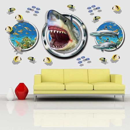 Fashion Underwater World Pattern 3D Wall Stickers For Living Room ...