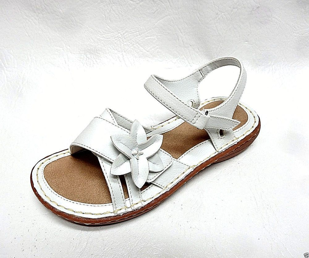 56d3db886 SONOMA life+style Kids Girls MAEVE flower Velcro Straps white sandals 4 NEW…
