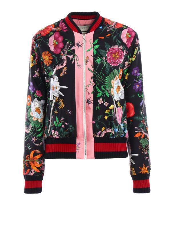 576823790 GUCCI - Flora Snake print silk bomber | floral jacket in 2019 ...