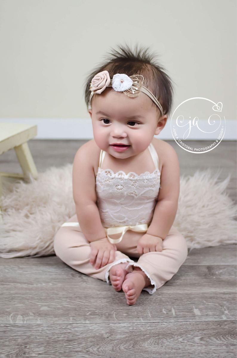 Photo of Baby girl photo shoots , sitter photography, photo outfit baby girl, sitter girl photo props, baby girl light beige 6 months romper RTS