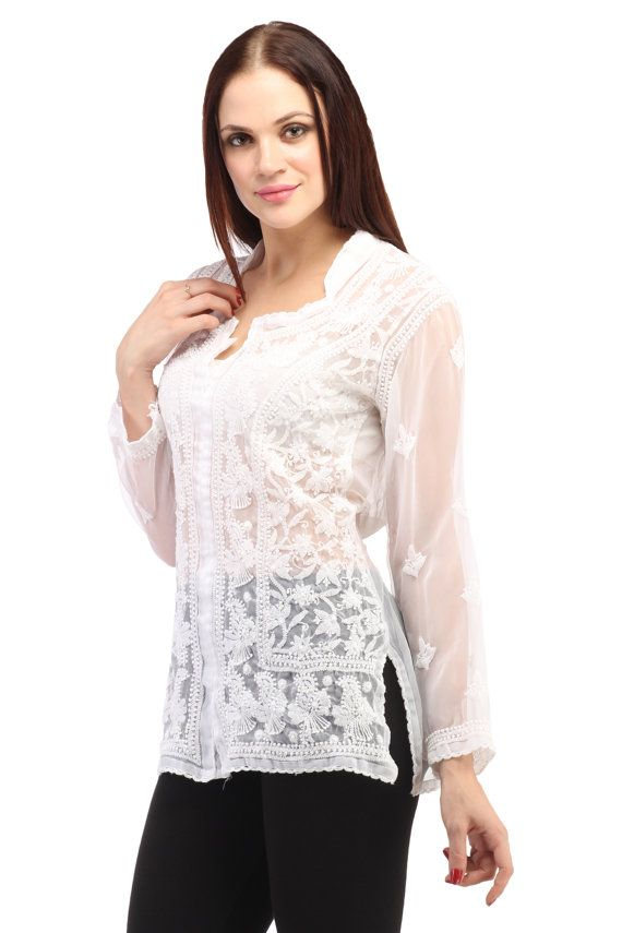 Indian Embroidered Boho Bollywood Top Tunic Shirt Kurtis Kurta Cotton WHITE