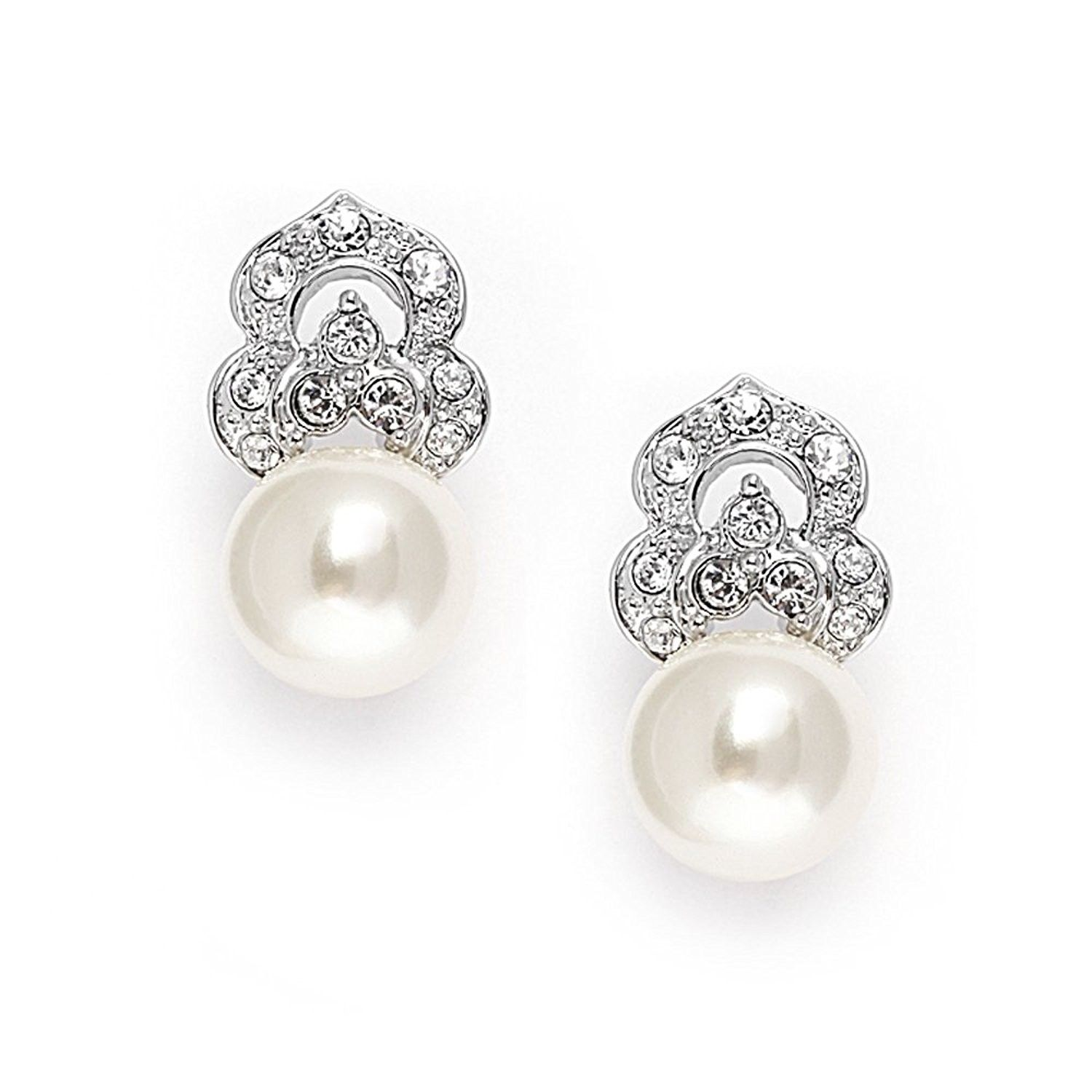 Clip On Pearl Bridal Earrings with Art Deco Vintage
