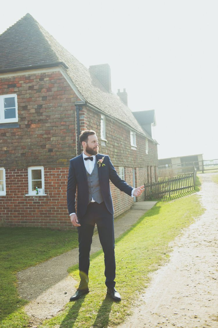 Moss Bros Groom Suit Waistcoat Bow Tie Relaxed Country Spring Farm Wedding Kent Http