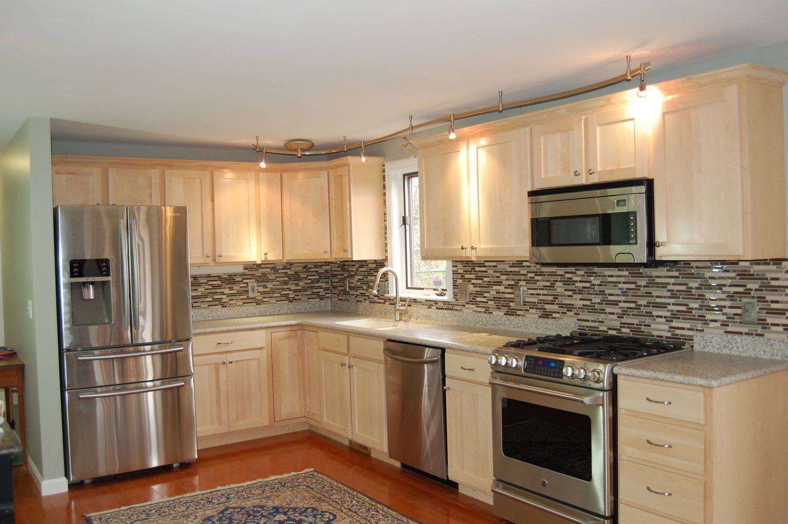 Attirant Great White Kitchen Cabinet Refacing Long Island And Kitchen Cabinets With  Marble Countertop Around Refrigerator Also Gas Stove Elegant Design For  Kitchen ...