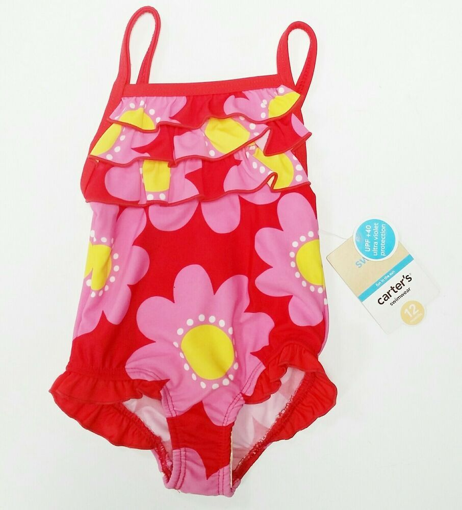 Carters Toddler Baby Bathing Suit Girls Size 12 Months Ruffled Pink Daisies Ebay In 2020 Baby Bathing Suit Girl Baby Bathing Suit Girls Bathing Suits