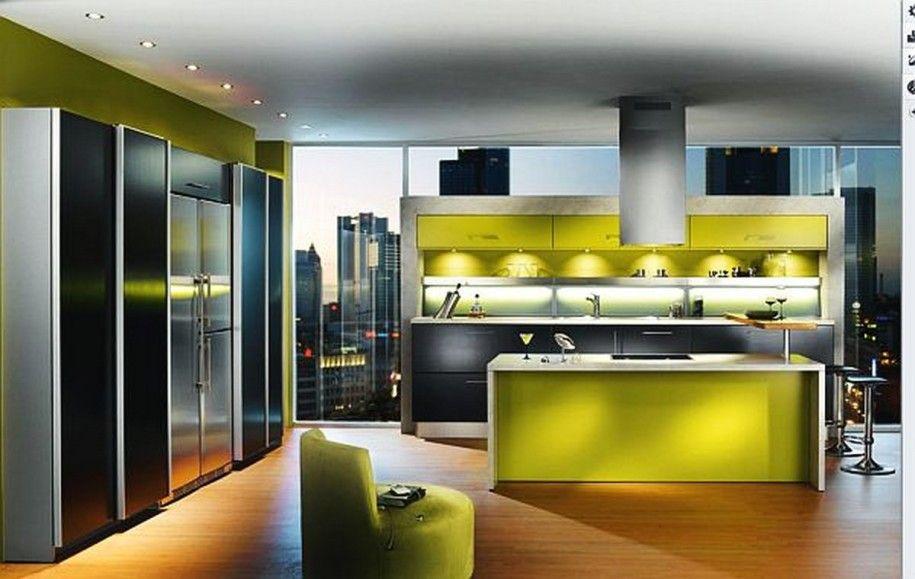 kitchen ultra modern green design with bright lighting kitchen design ideas color schemes jamseed - Kitchen Design Color Schemes