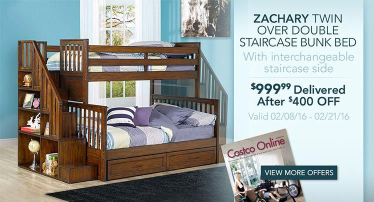 Zachary Twin Over Double Staircase Bunk Bed With