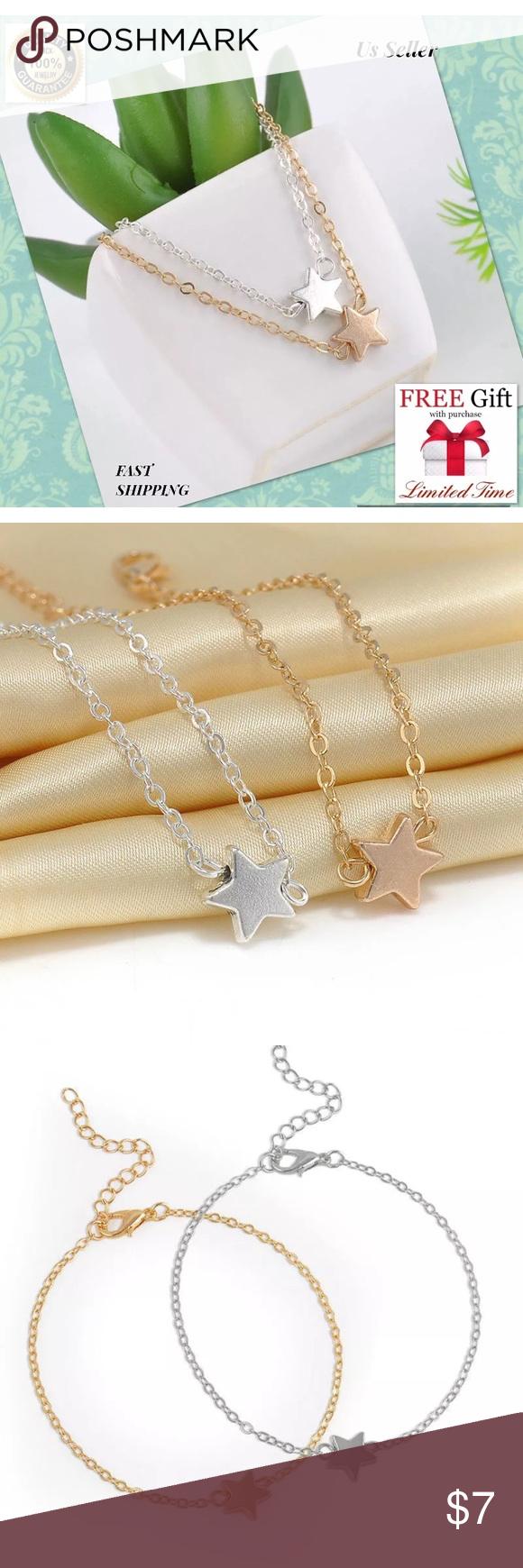 Pcs fashion gold silver star women bracelet men boutique