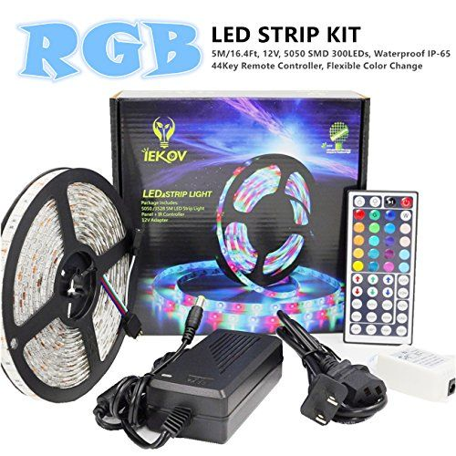 Rgb Led Strip Lights Kit Iekov 5050 Smd 300leds Waterproof Flexible Color Change Lighting Strips Led Tape 44key Remote C Led Strip Lighting Rgb Led Strip Lights