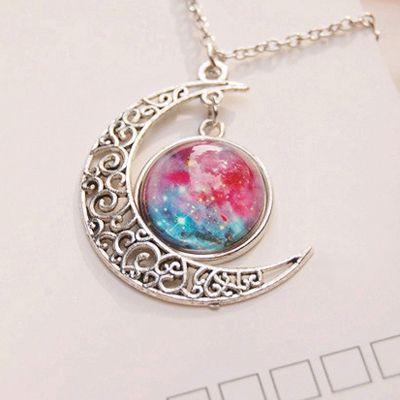 Galaxy Moon Necklace from Cute Kawaii {harajuku fashion} - Euforia - Galaxy Moon Necklace from Cu
