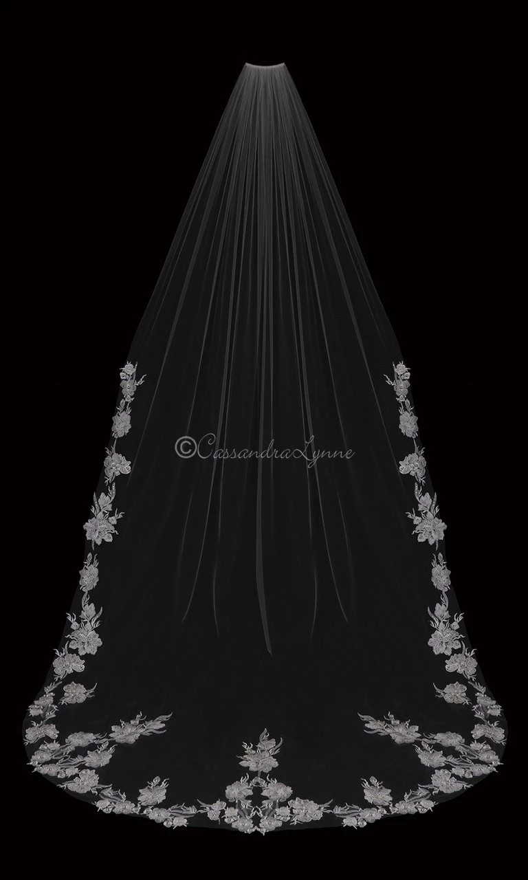 Cathedral Veil with Lace Pearl Beaded Flowers in 2020