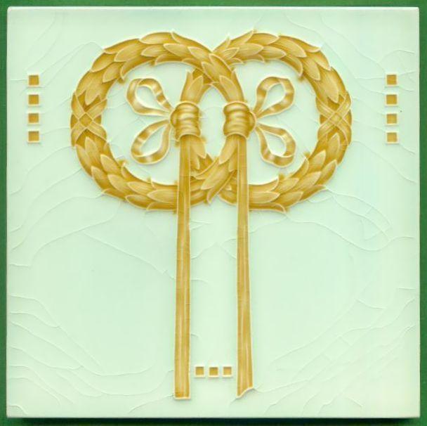 Jugendstil Fliese Kachel Art Nouveau Tile, NSTG Grohn Lorbeerkranz Laurel Wreath