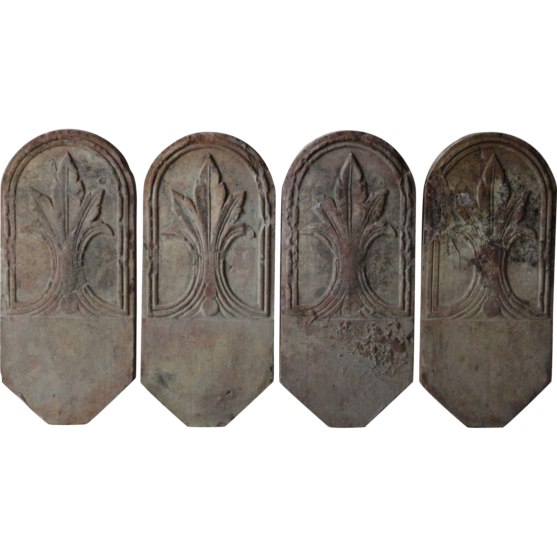 19th Century French Terracotta Garden Border Edging. A Group Of Four Decorative  Tiles In Their