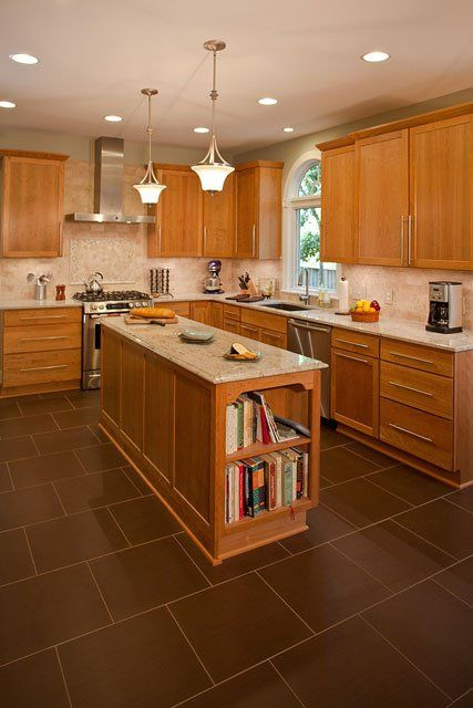 Light Cherry Cabinets With White Island Now Boasts New Cherry Cabinets And An Island Topped W White Granite Countertops Wood Kitchen Cabinets Cherry Cabinets