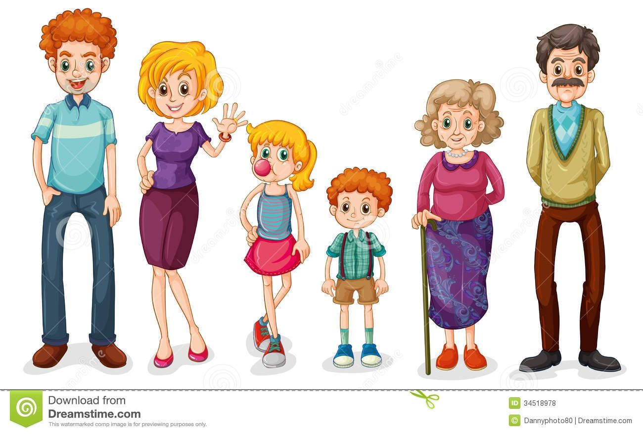 Clip Art of a Family Members Free vector illustration