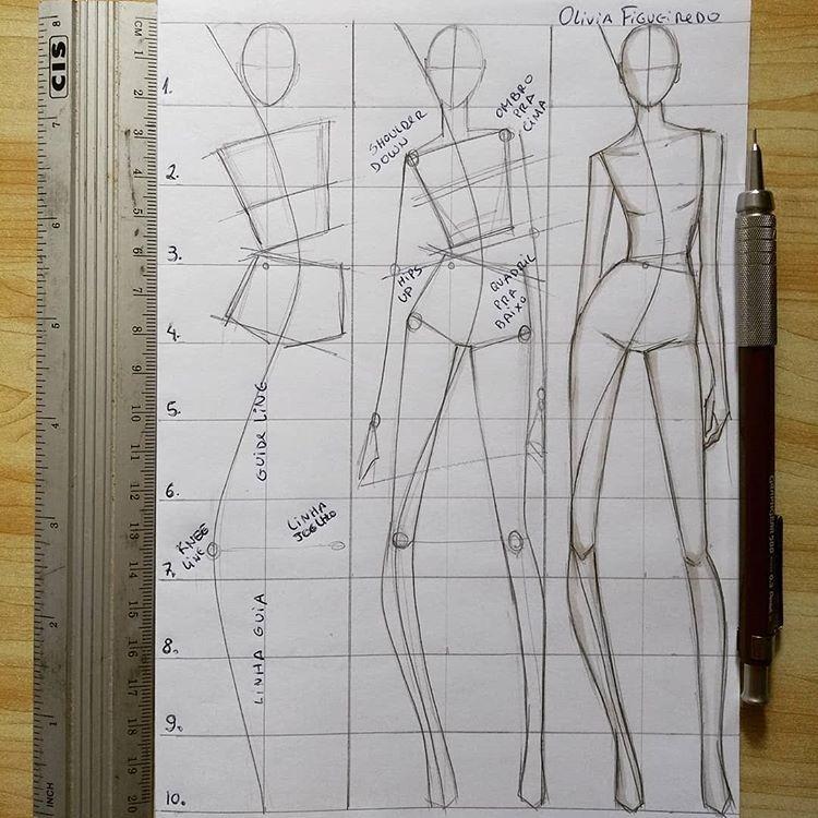 """Photo of Olívia Figueiredo – Designer on Instagram: """"A 10 head body sketch!! 📝 The drawing becomes longer with longer legs. Desenho de corpo com 10 cabeças. O desenho se torna mais longilíneo…"""""""