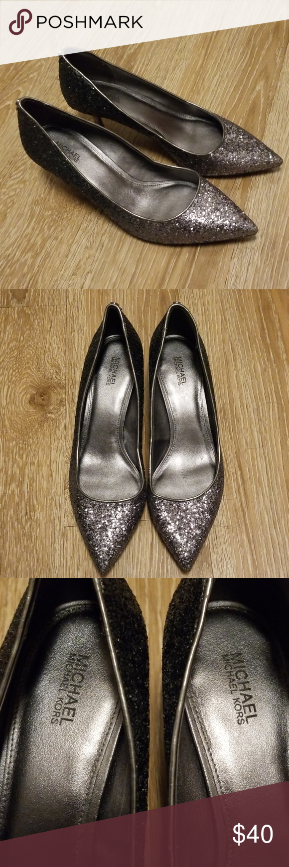 Michael Kors Silver Glitter Pumps Gunmetal In 2020 With Images Silver Glitter Pumps Glitter Pumps Michael Kors Silver
