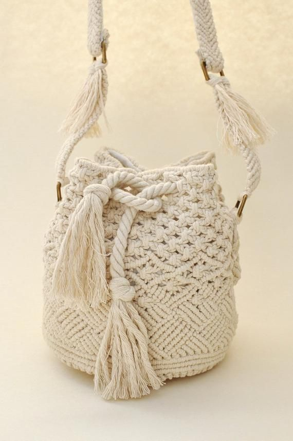 Drawstring bucket bag Woven white ivory cotton rope bag Macrame cylinder wicker bag Wedding boho bag