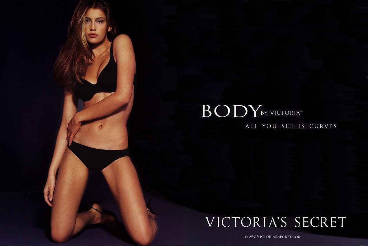 This is an advertisement from Victoria Secret that is ...